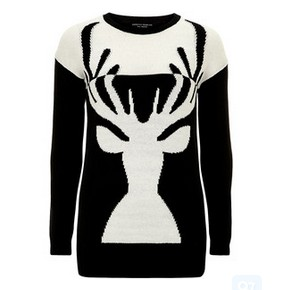 Dorothy Perkins black and white deer sweater