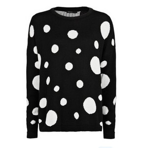 Maxi Polka-Dot Loose-Fit Sweater Black and White Sweater
