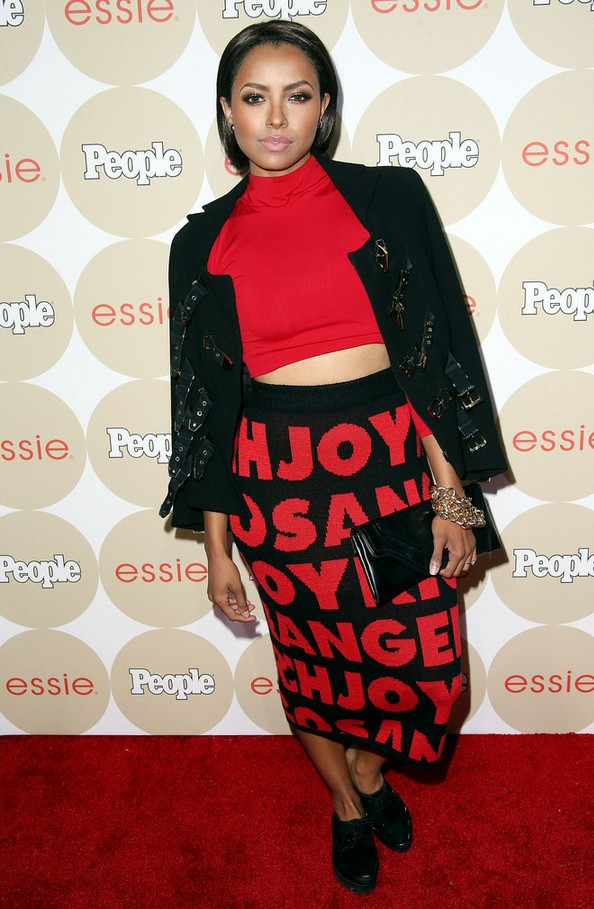 Kat Graham Robust looking black jacket with multiple buckles