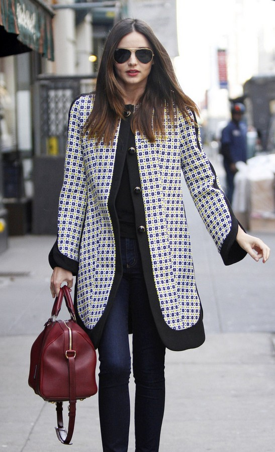 Miranda Kerr swing jacket with black and white print