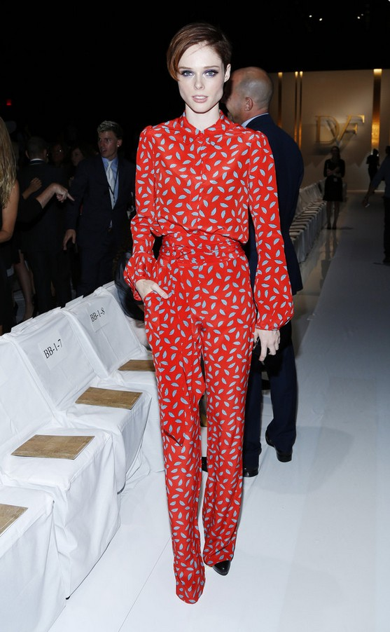 Coco Rocha jumpsuit with red print