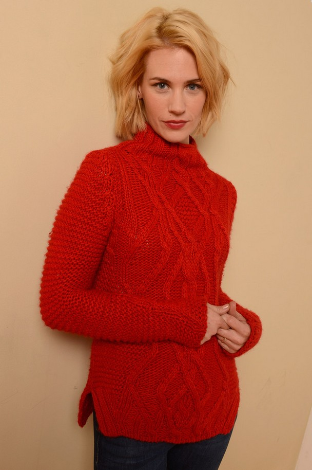 Anuary Jones Bright Red Cable Knit Turtleneck