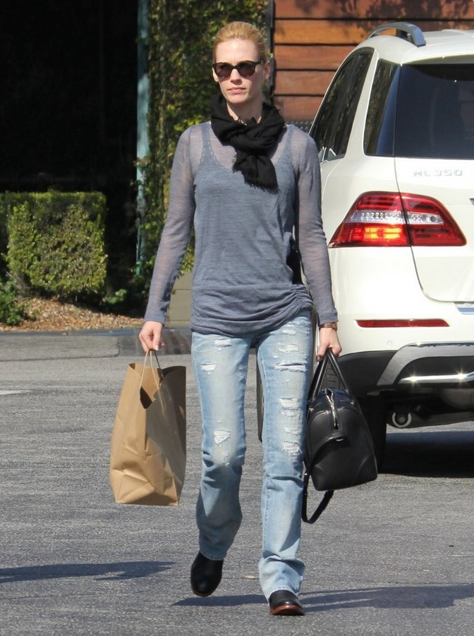 January Jones Gray Crew Neck Knit Top