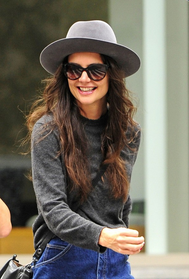 Katie Holmes Gray Crew-neck Sweater