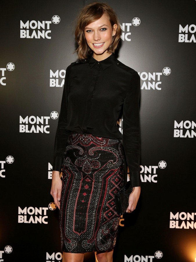 Karlie Kloss black button-down shirt by Prabal Gurung