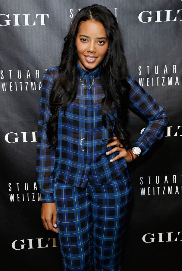 Angela Simmons plaid button-down shirt and pants