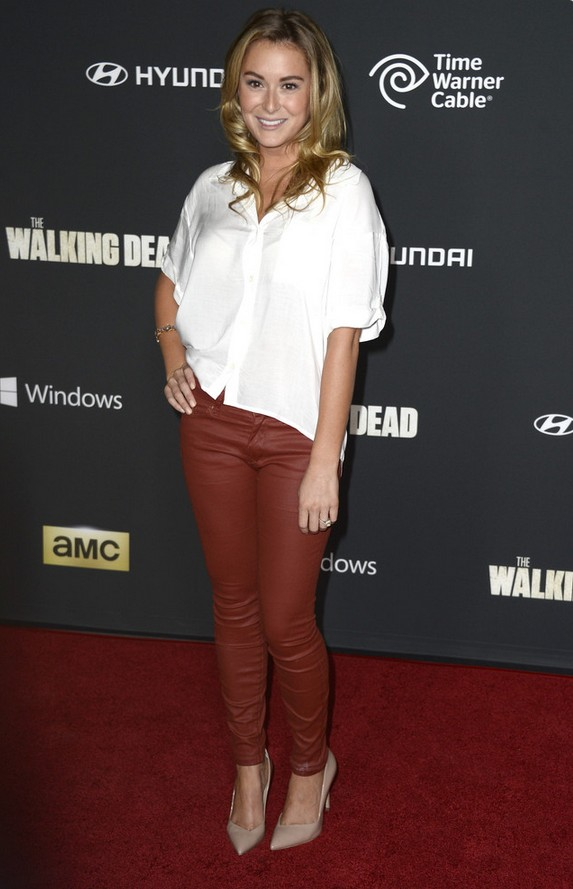 Alexa Vega White short button-down shirt