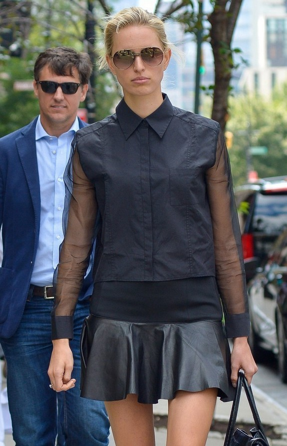 Karolina Kurkova Black button-down shirt