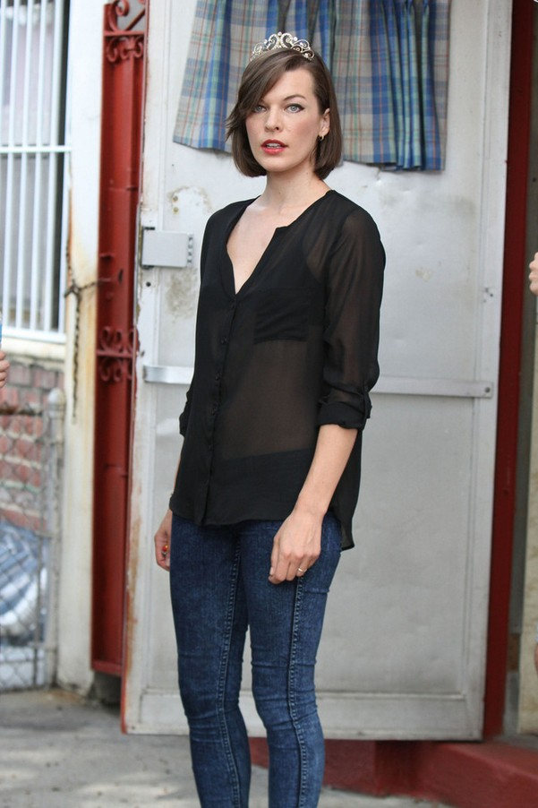 Milla Jovovich Sheer Black button-down shirt