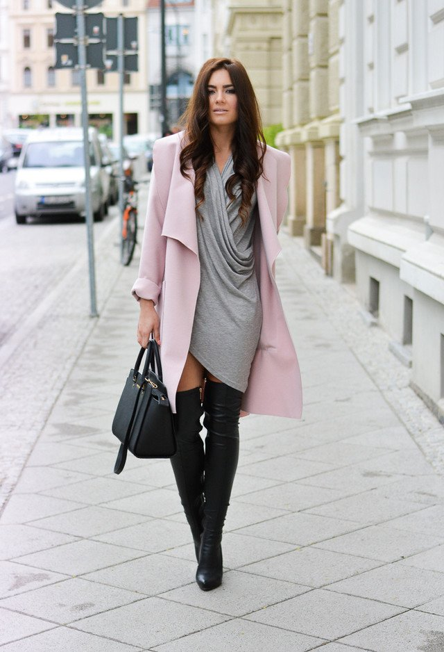 Fashionable autumn outfit idea with high boots