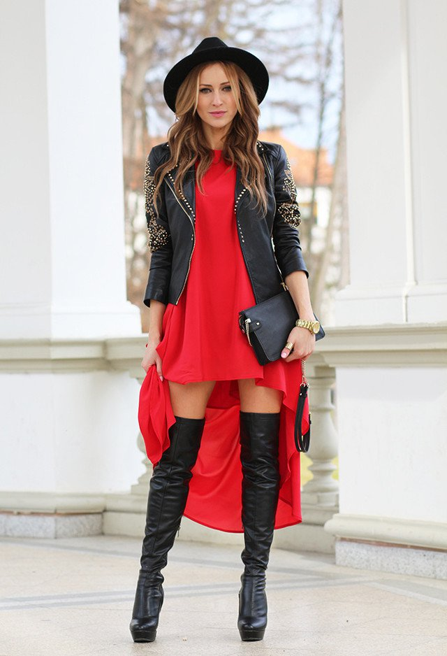 Chic autumn outfit idea with high boots