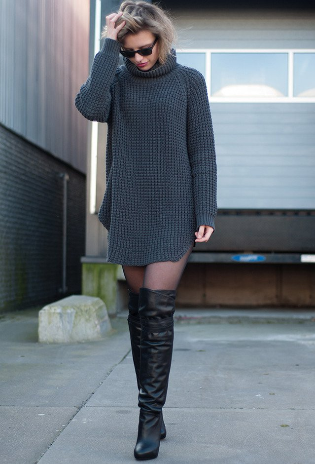 Casual-chic outfit with over-the-knee boots