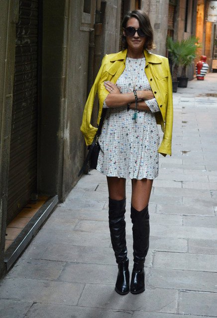 Pretty autumn outfit idea with over the knee boots