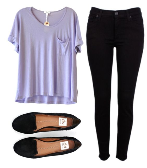 Purple t-shirt, black pants and black flats