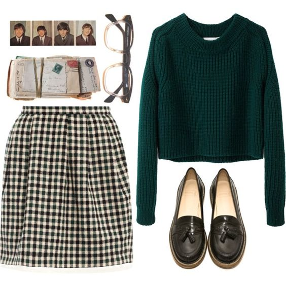 Green sweater, plaid skirt and black flats