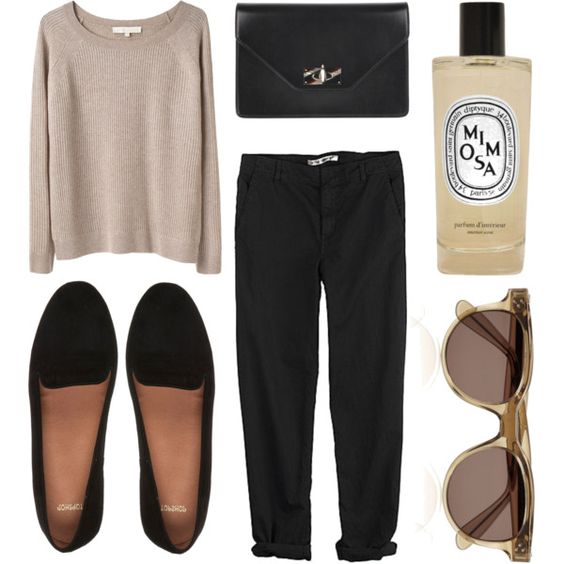 Sweaters, black pants and black flats