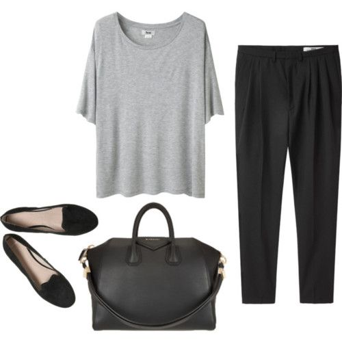 Gray t-shirt, black pants and black flats