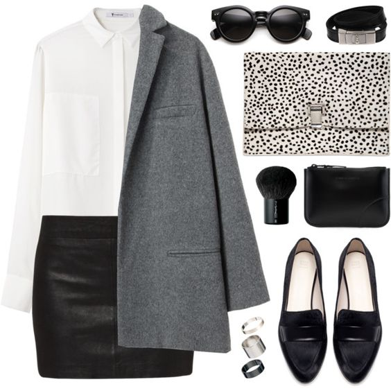 White shirt, black skirt, gray coat and black flats