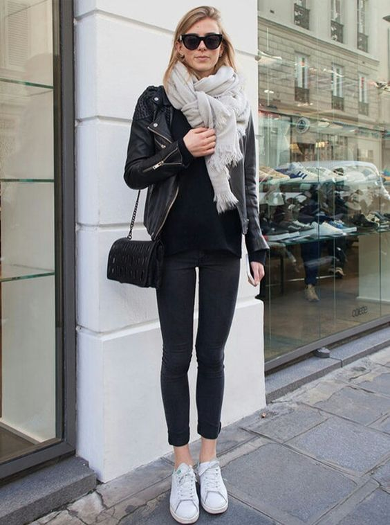 Black outfit and white shoes
