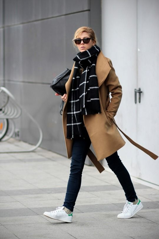 Camel coat and white shoes
