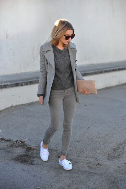 Gray outfit and white sneakers