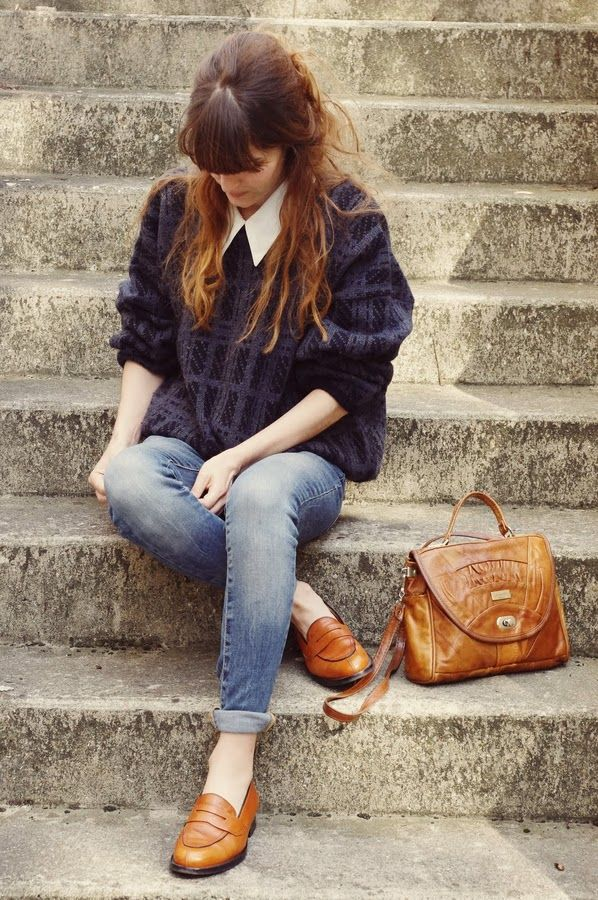 Brown bag and brown loafers