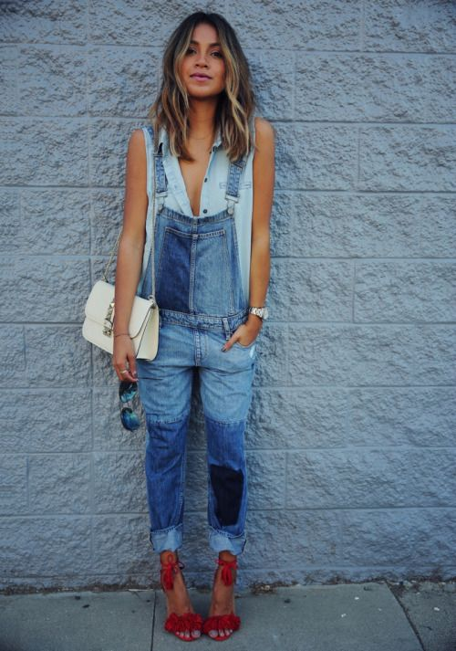 Blue denim overalls and red suede sandals