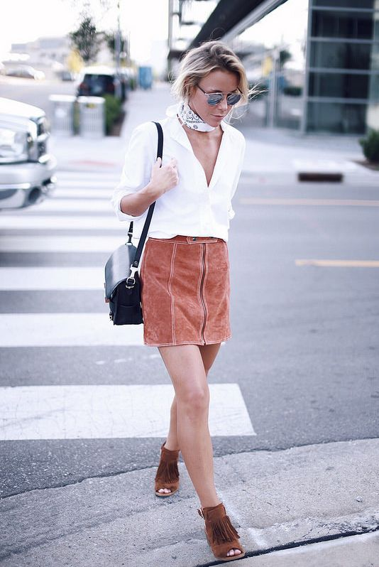 Suede pencil skirt and suede fringed sandals