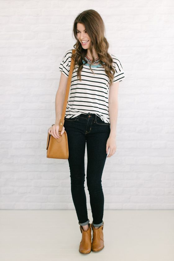 Striped t-shirt, half-cuffed jeans and brown boots