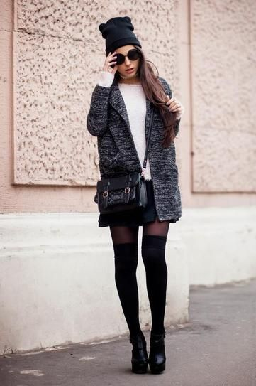 Knee high socks and ankle boots
