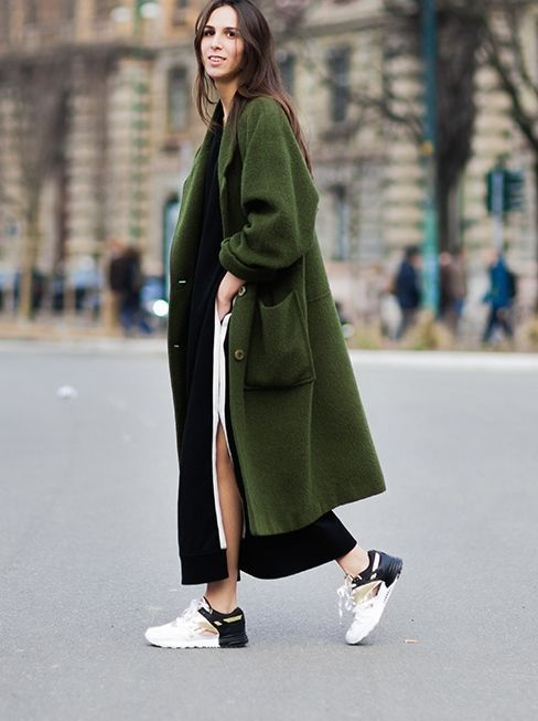 Green coat and creative sneakers