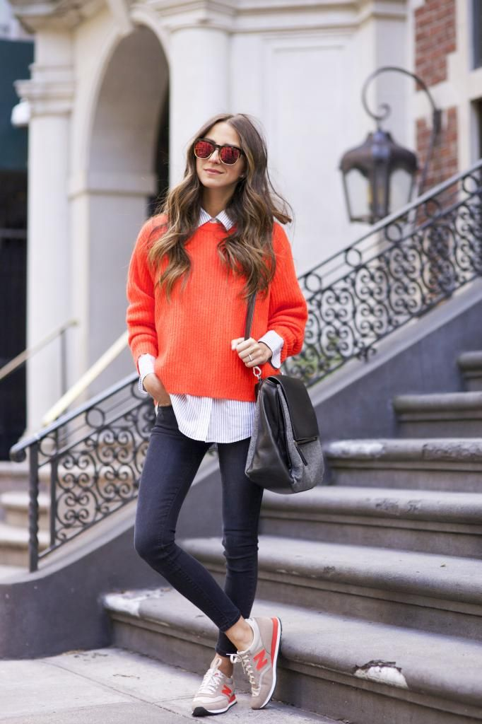 Orange sweater and sneakers