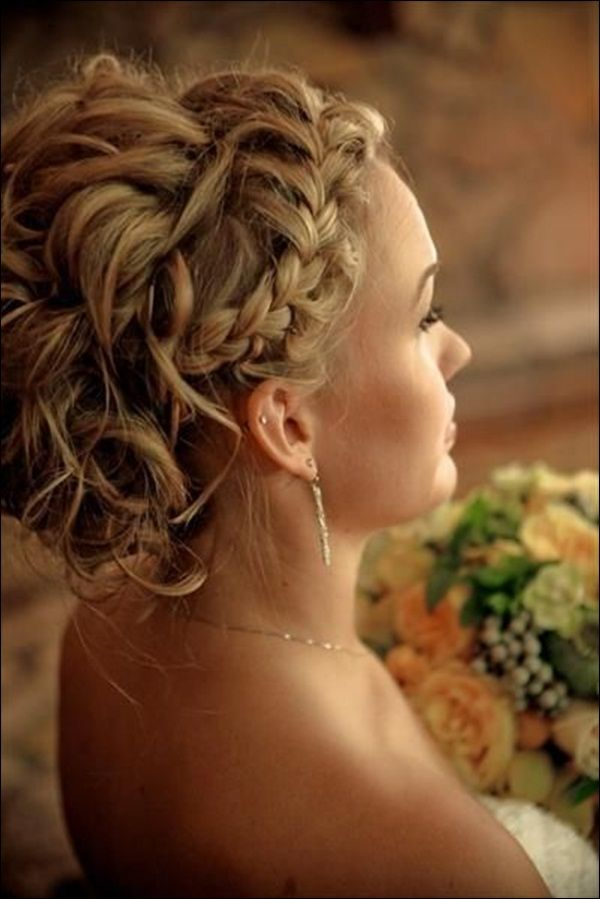 Elegant wedding updo with braided bangs