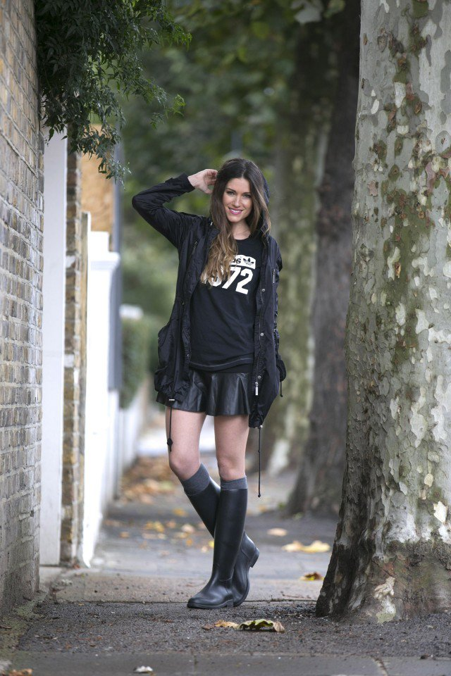Rainy boots with a black skirt