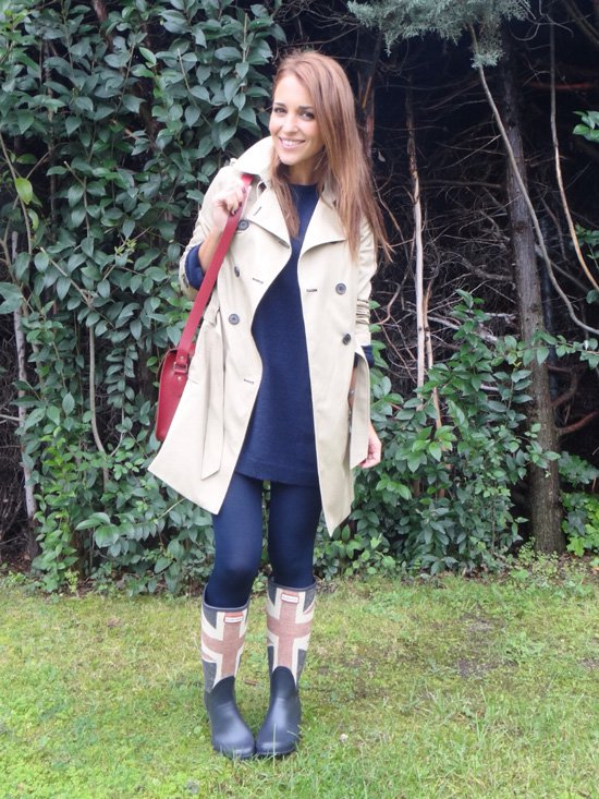 Rainy boots with trench coat