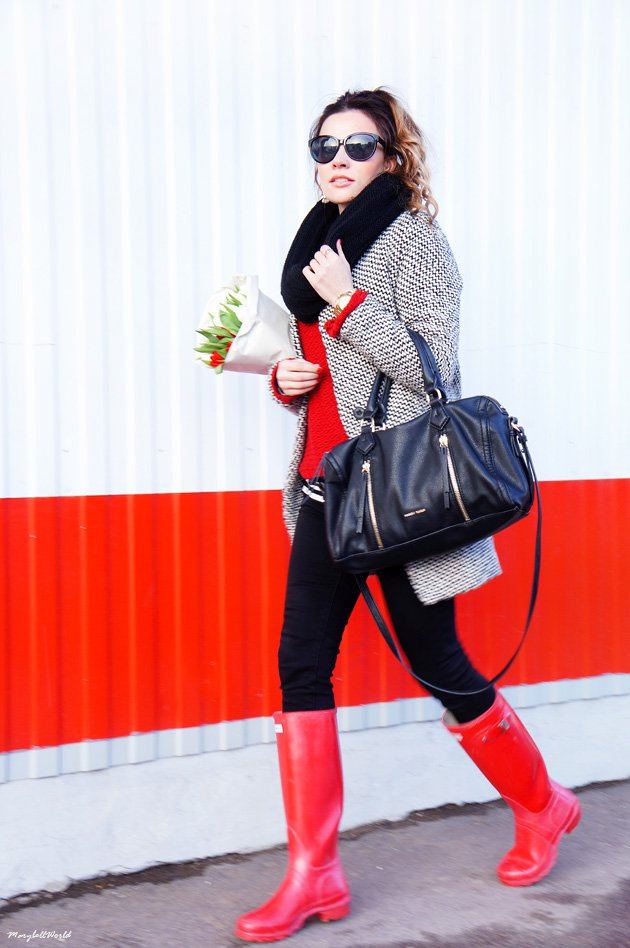 Red rainy boots