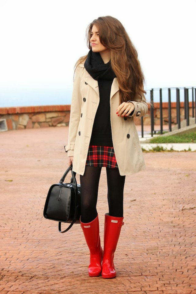Red rain boots with trench coat