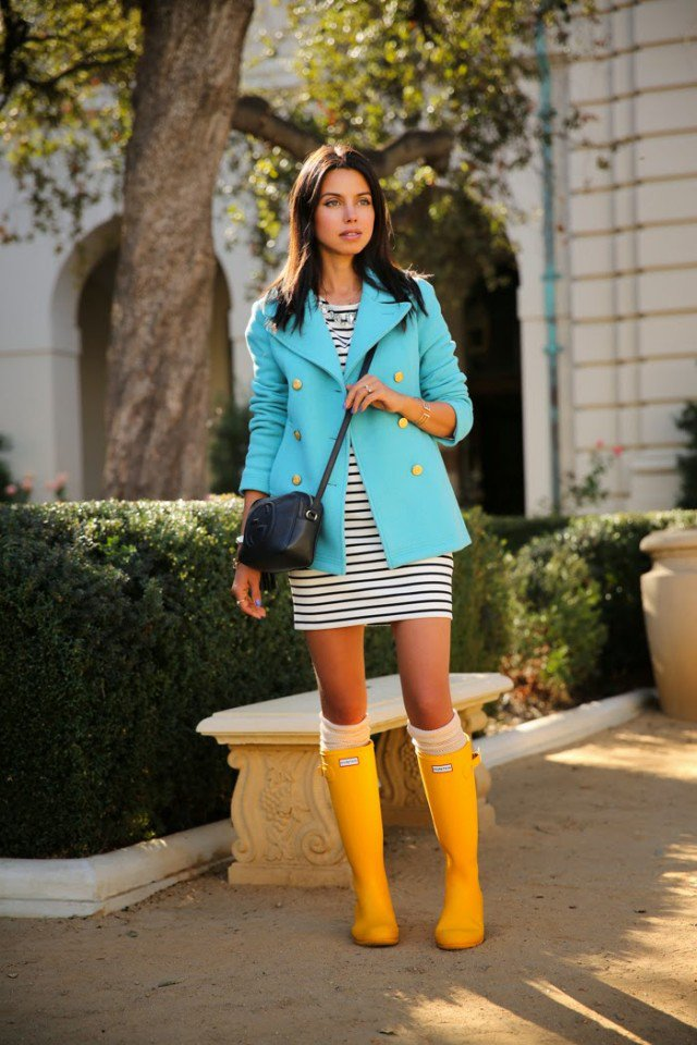 Yellow rain boots with a striped dress
