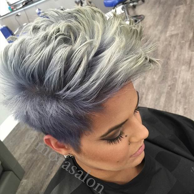 Gray faux hawk hairstyle