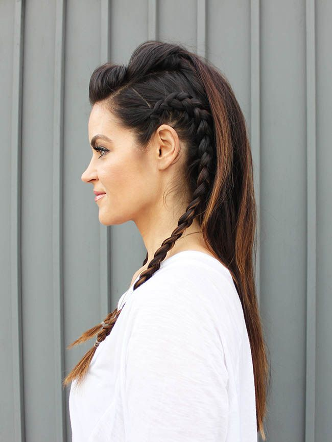 Faux Hawk hairstyle for long hair