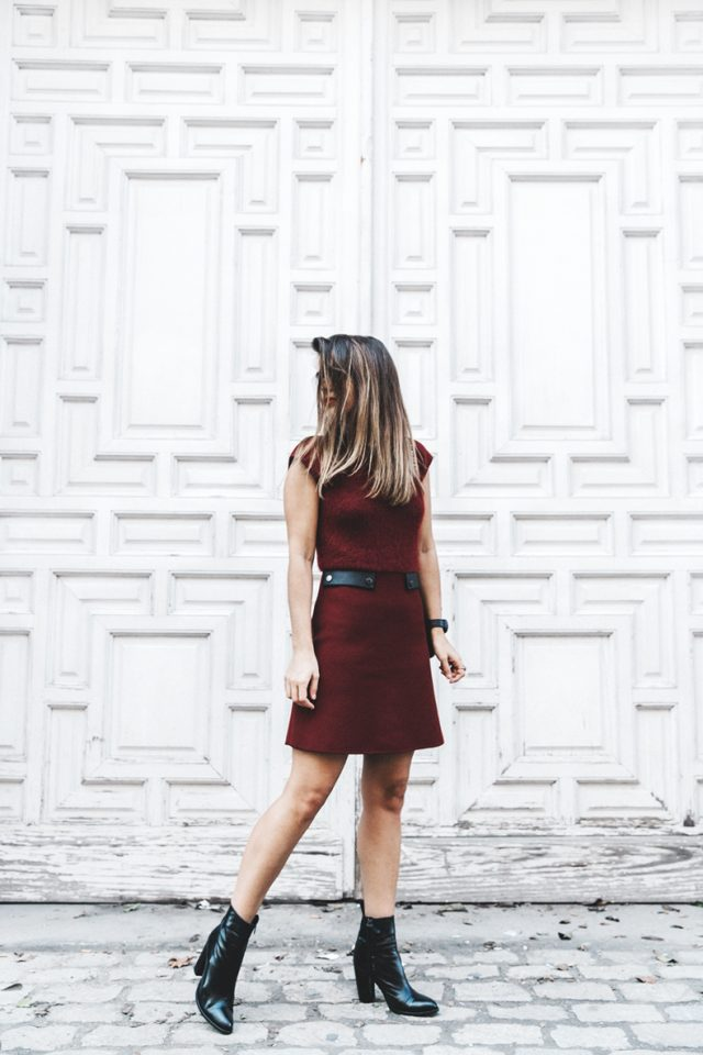 Burgundy dress and boots over