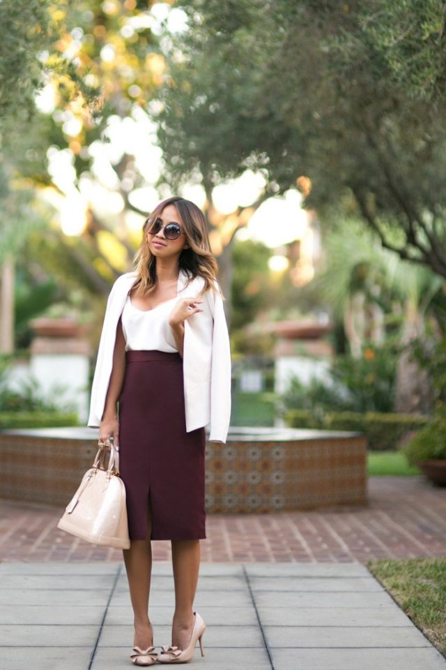 White top and burgundy pencil skirt over