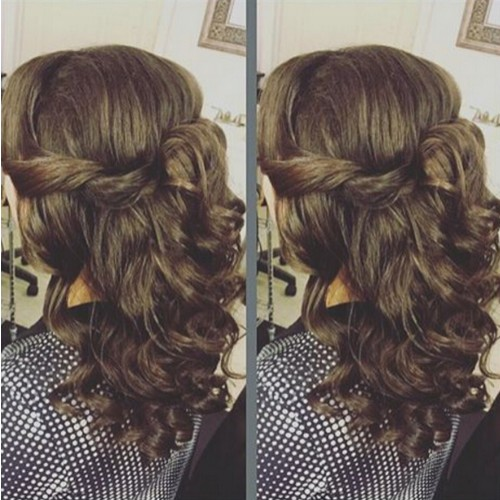 Twisted half up hairstyle for medium length hair