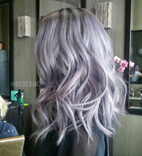 Medium wave hairstyle for purple hair