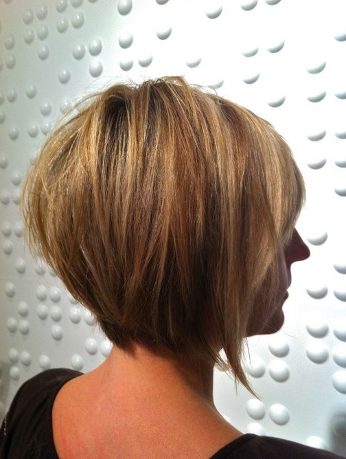 Rear view of layered bob hairstyle