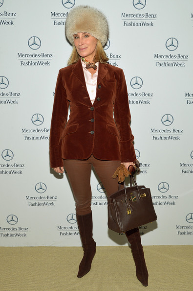 Sonja Morgan blazer outfit with knee-high boots