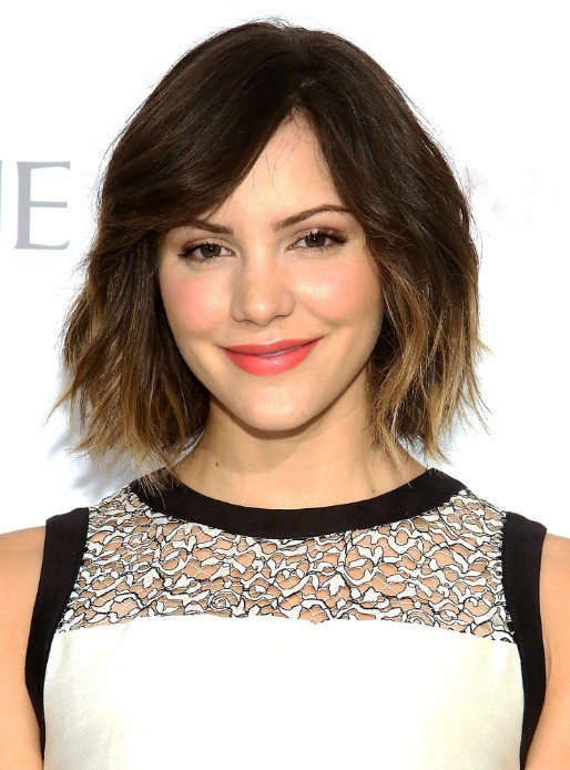 Katharine McPhee Short Ombre Bob Hairstyle with Bangs