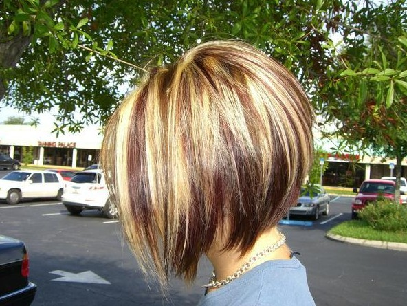 Inverted bob haircut with red-blonde and brown highlights