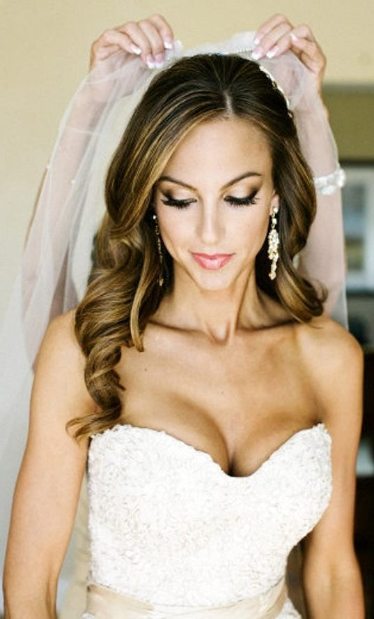 Large long curly wedding hairstyle