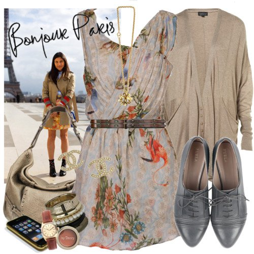 Flower outfit idea with oxford shoes